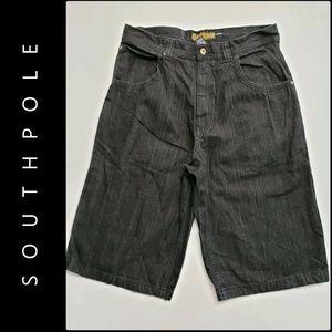 South Pole Shorts - Southpole Men Denim Longer Length Short Black 36